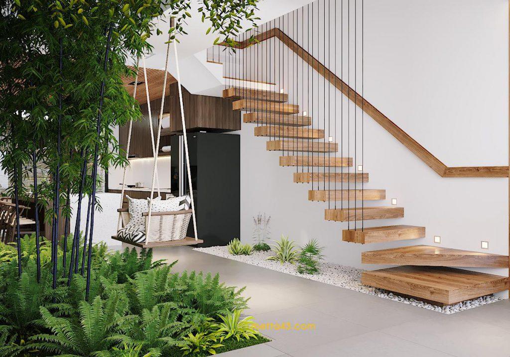 Không gian cầu thang theo phong cách kiến trúc nhiệt đới