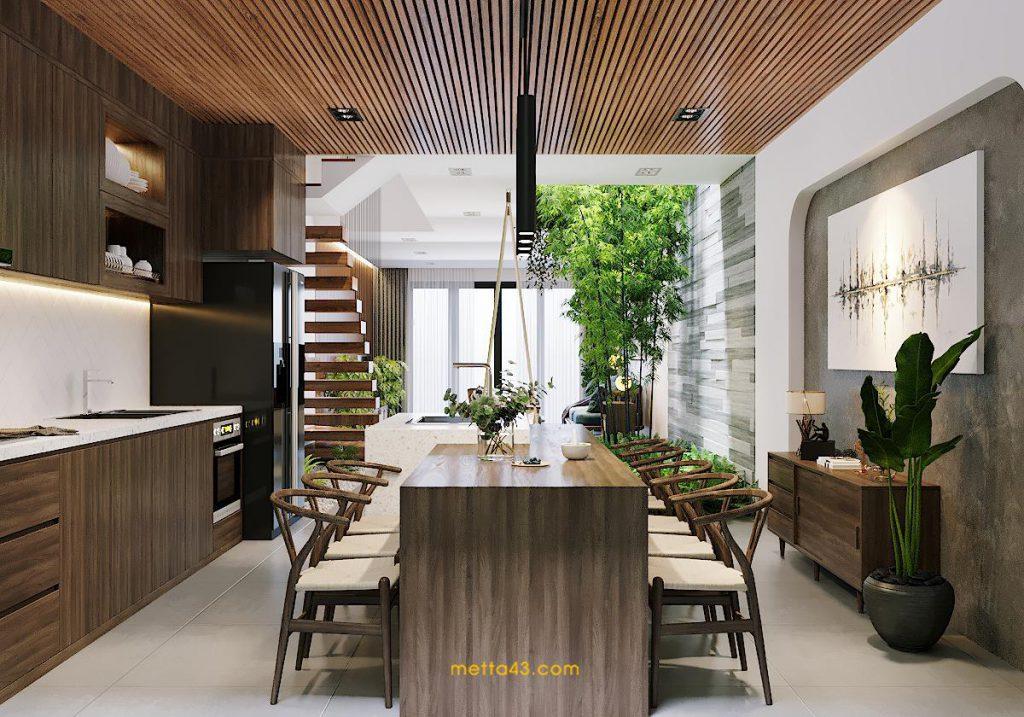 Không gian bếp với thiết kế nội thất theo phong cách nhiệt đới